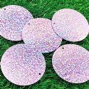 Sequins, Light purple, 51mm, 9 pieces, 7g, Round shape, Sequins are shiny, [CZP682]